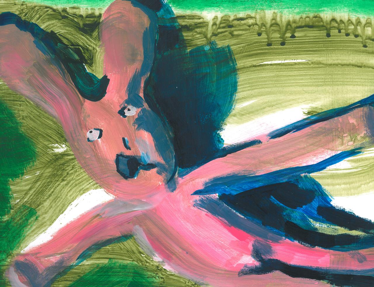 Hare left lying   Acrylic on Paper / 33x22 cm / 2015